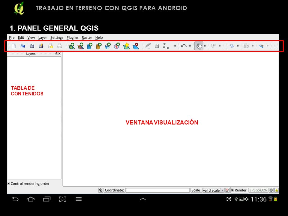 1. PANEL GENERAL QGIS TRABAJO EN TERRENO CON QGIS PARA ANDROID