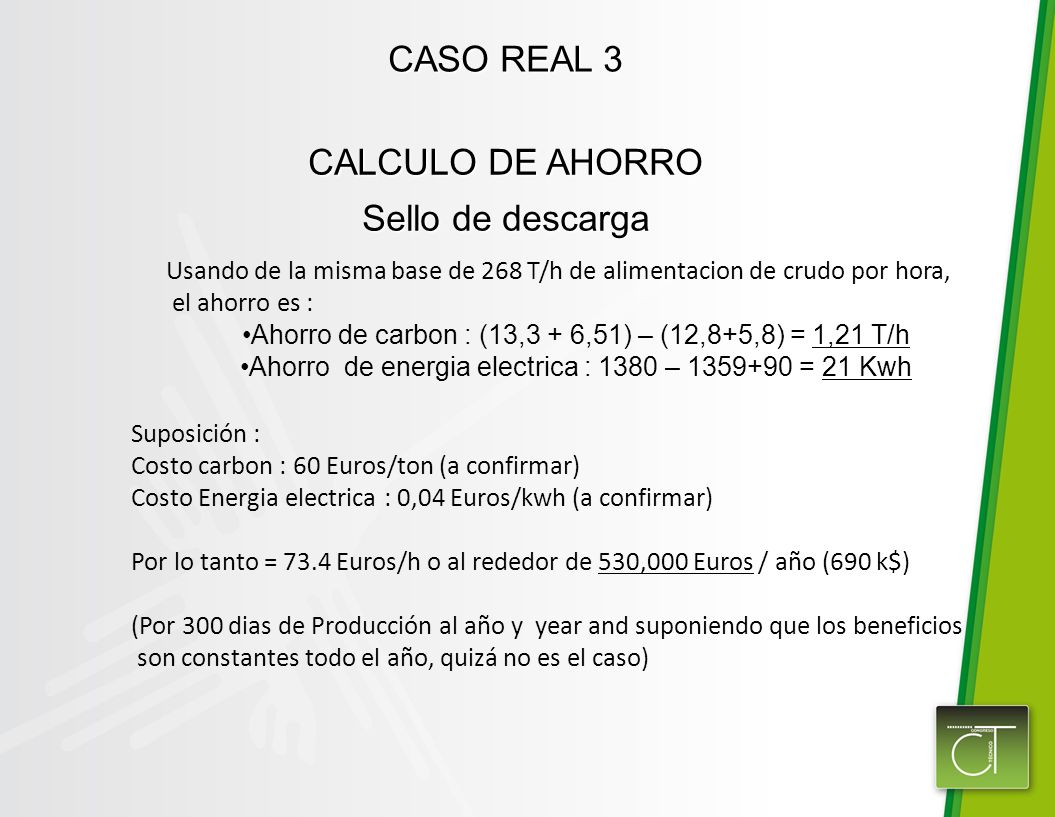 CASO REAL 3 CALCULO DE AHORRO Sello de descarga