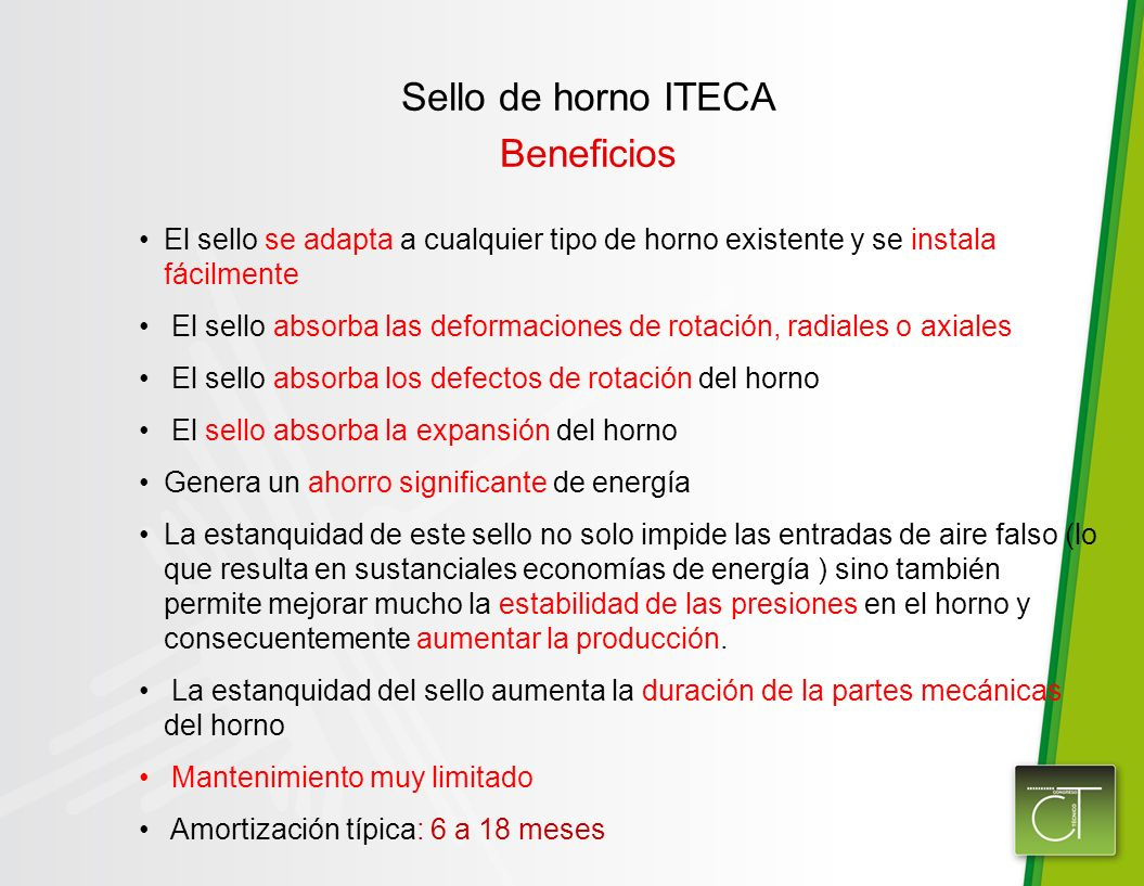 Sello de horno ITECA Beneficios