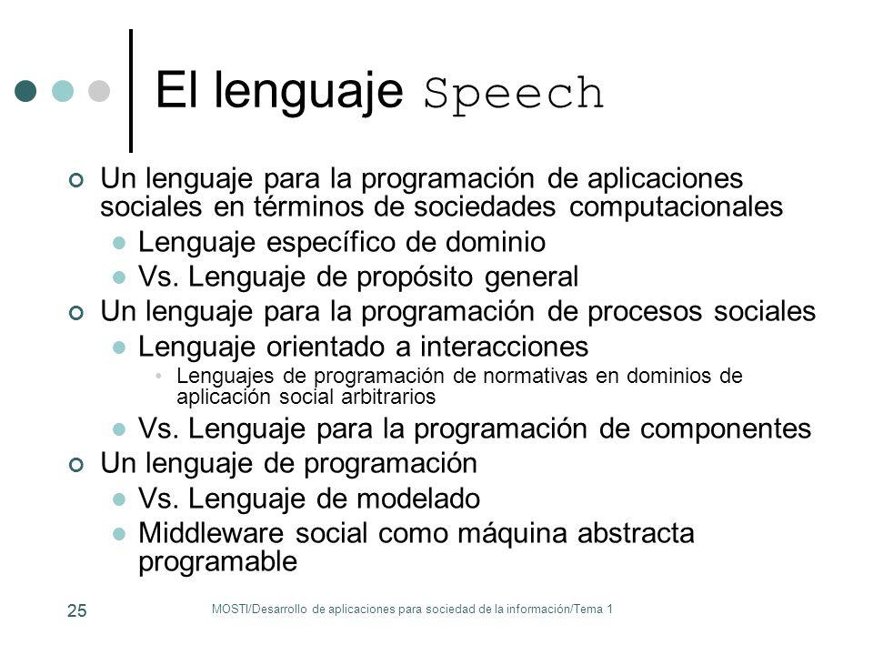El lenguaje Speech Un lenguaje para la programación de aplicaciones sociales en términos de sociedades computacionales.