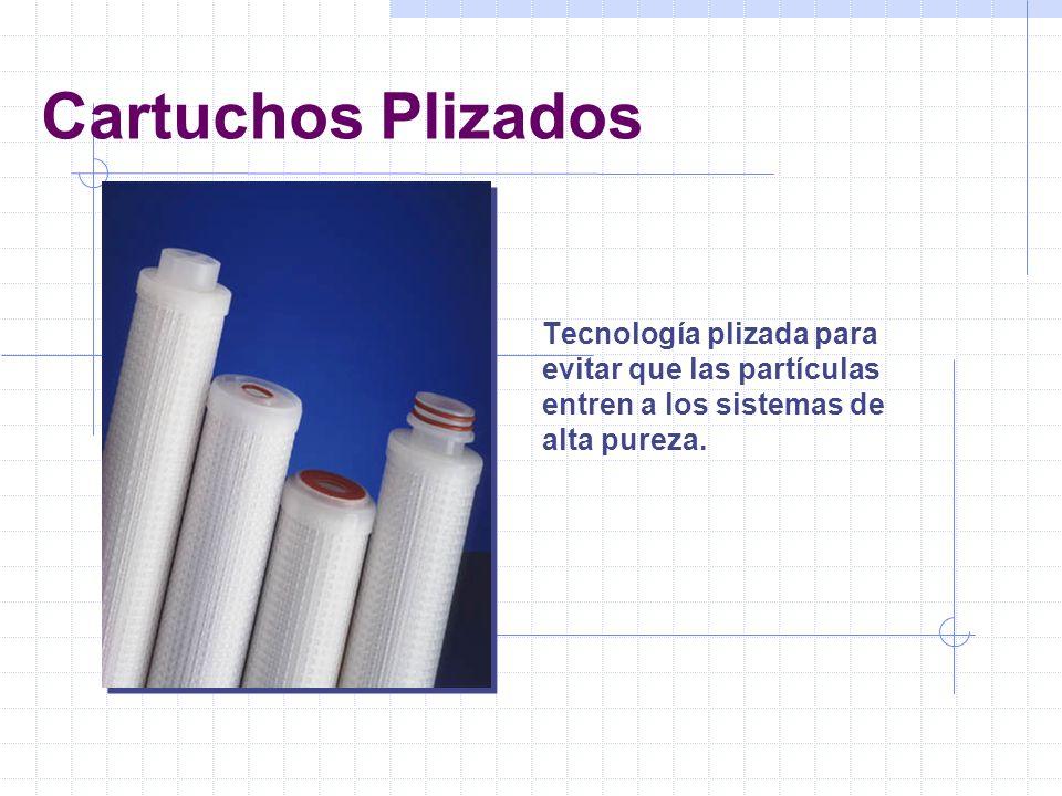 Cartuchos Plizados Tecnología plizada para evitar que las partículas entren a los sistemas de alta pureza.