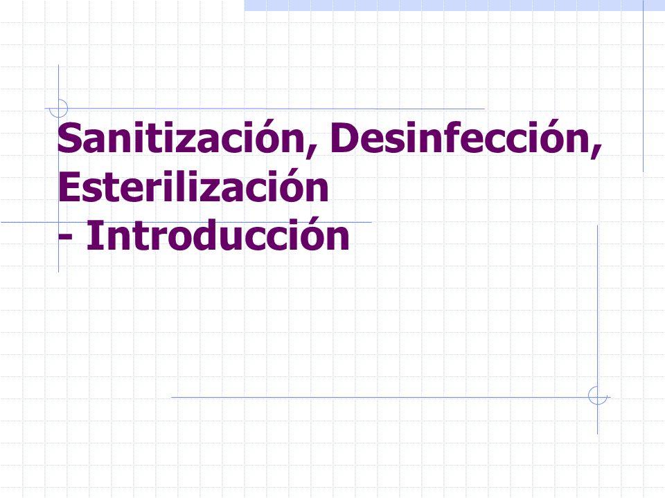 Sanitización, Desinfección, Esterilización - Introducción