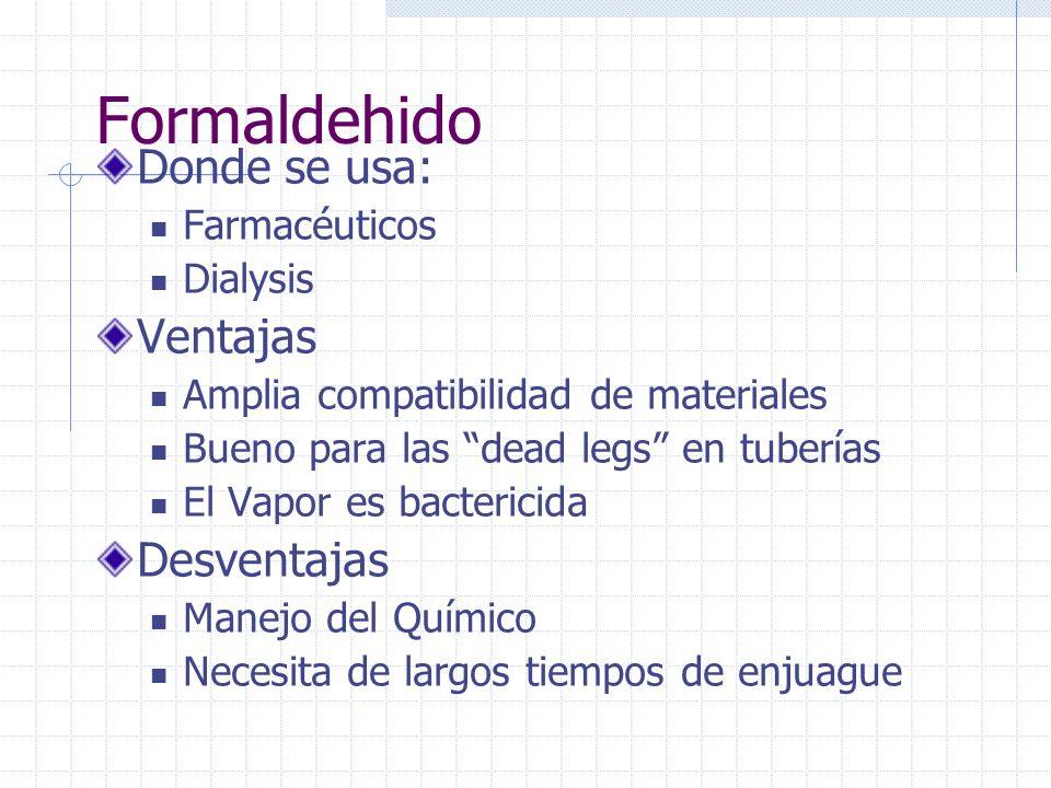 Formaldehido Donde se usa: Ventajas Desventajas Farmacéuticos Dialysis