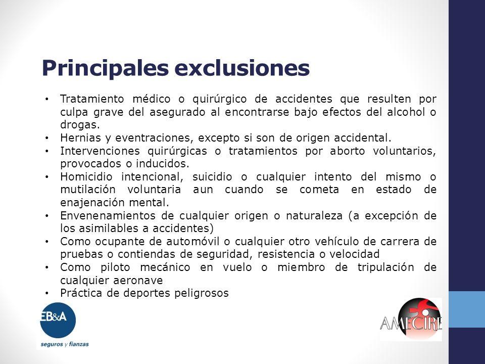 Principales exclusiones