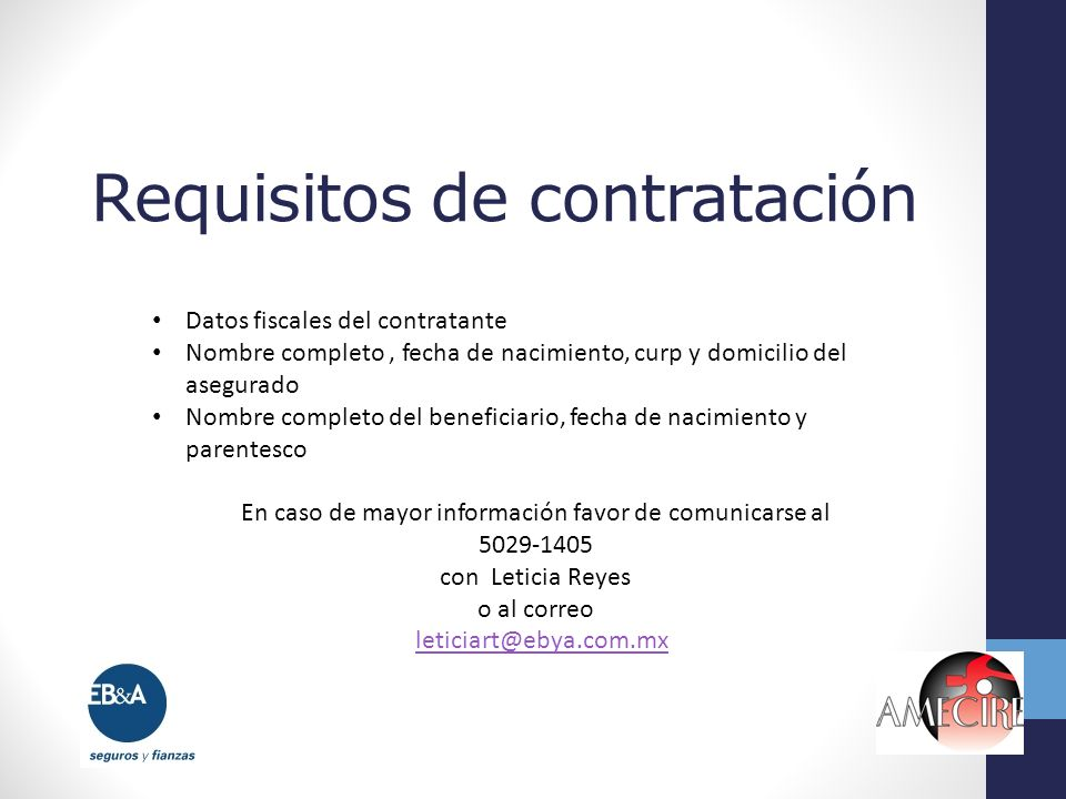 Requisitos de contratación