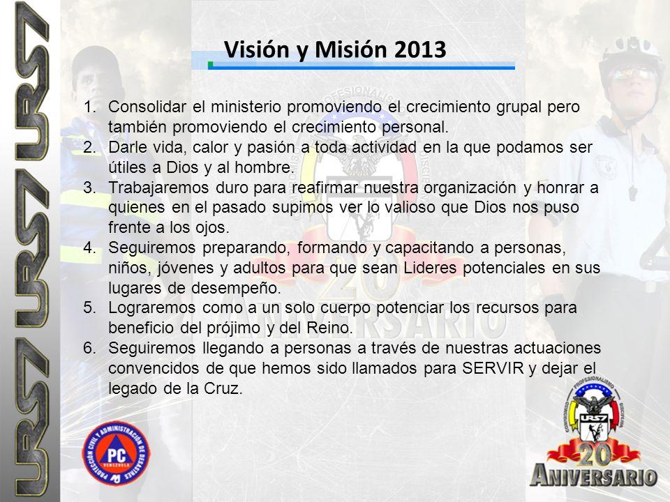Visión y Misión 2013 Consolidar el ministerio promoviendo el crecimiento grupal pero también promoviendo el crecimiento personal.