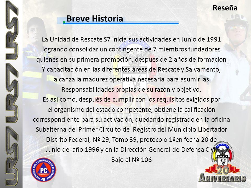 Reseña Breve Historia. La Unidad de Rescate S7 inicia sus actividades en Junio de 1991. logrando consolidar un contingente de 7 miembros fundadores.