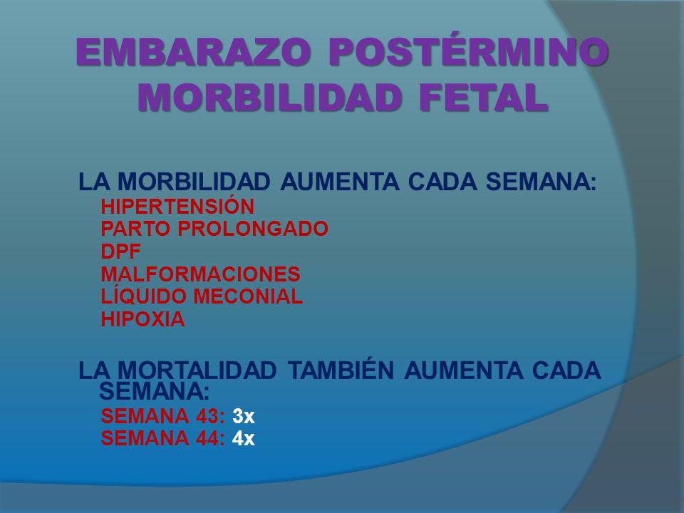 EMBARAZO POSTÉRMINO MORBILIDAD FETAL
