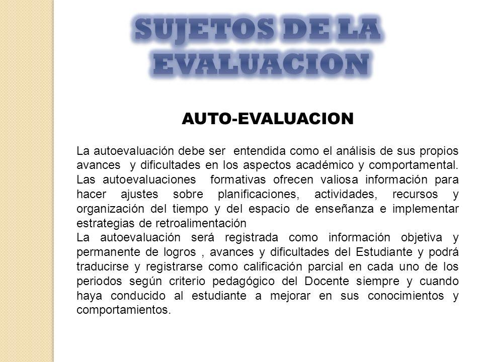 SUJETOS DE LA EVALUACION