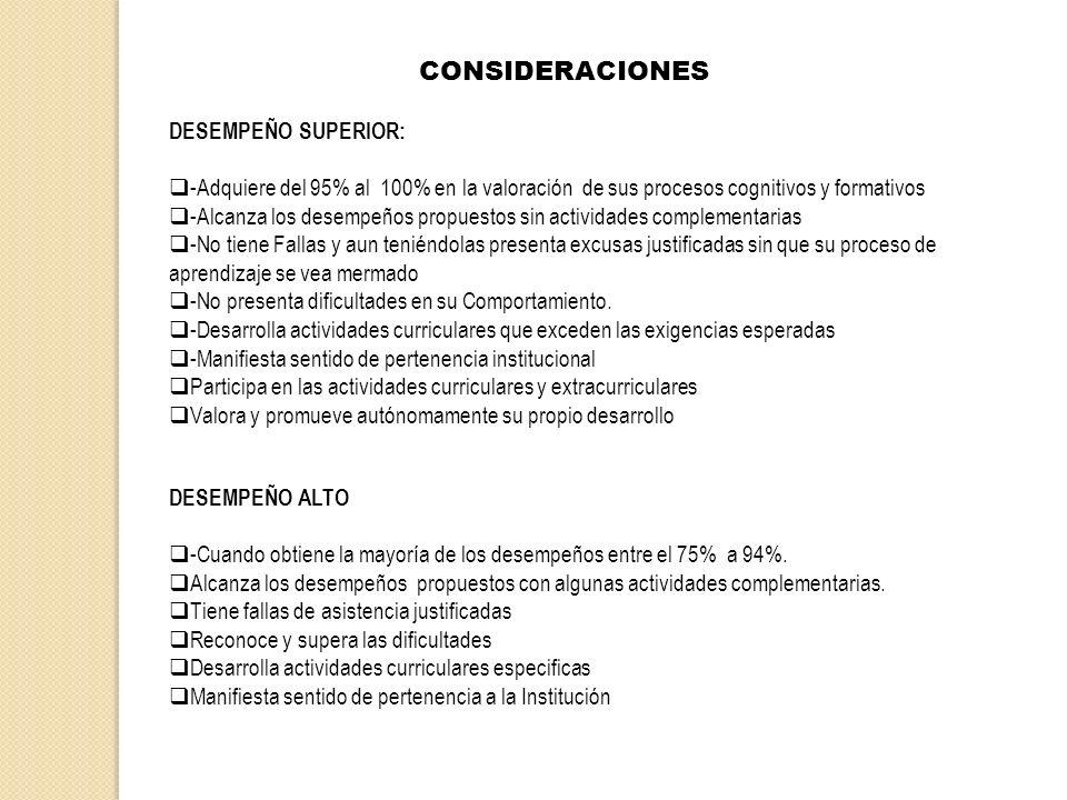 CONSIDERACIONES DESEMPEÑO SUPERIOR: