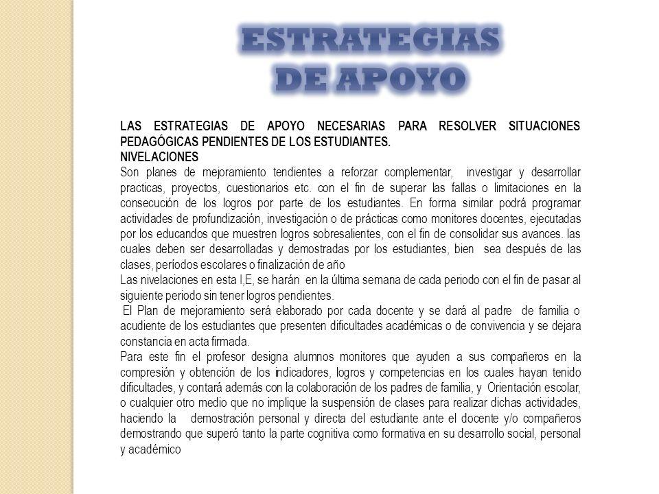 ESTRATEGIAS DE APOYO LAS ESTRATEGIAS DE APOYO NECESARIAS PARA RESOLVER SITUACIONES PEDAGÓGICAS PENDIENTES DE LOS ESTUDIANTES.