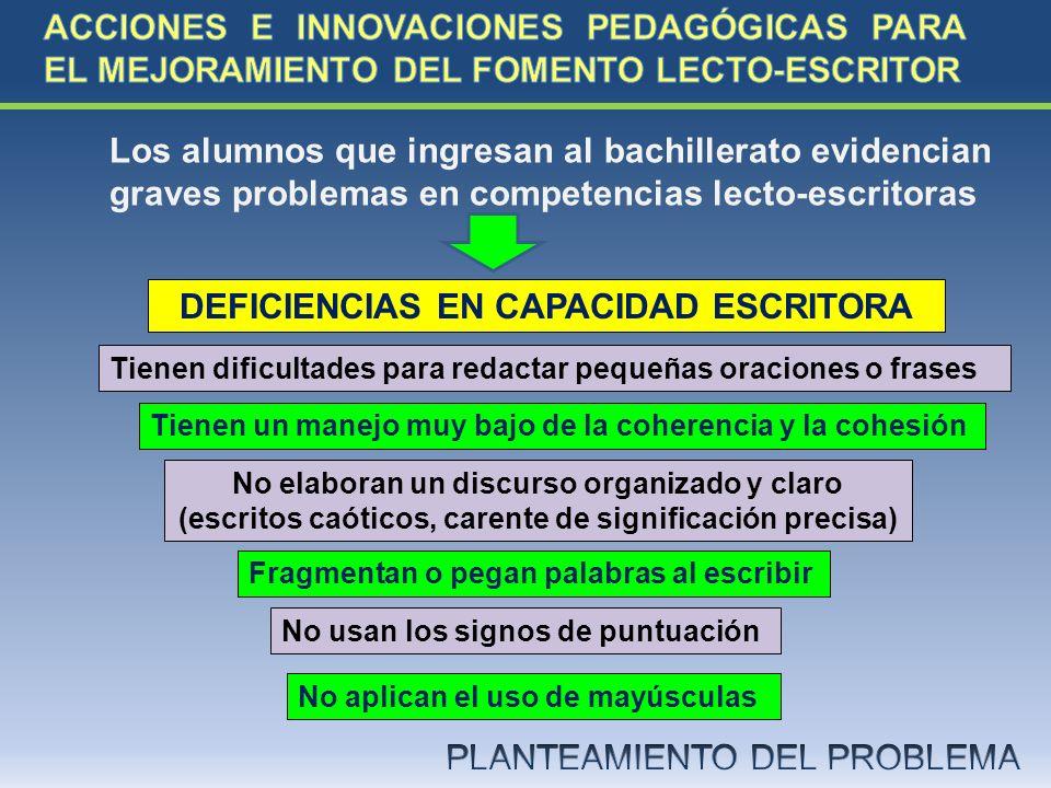 DEFICIENCIAS EN CAPACIDAD ESCRITORA