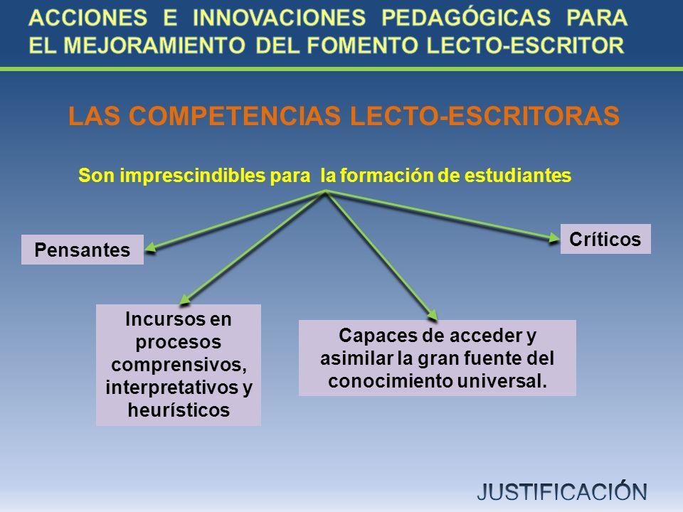 LAS COMPETENCIAS LECTO-ESCRITORAS