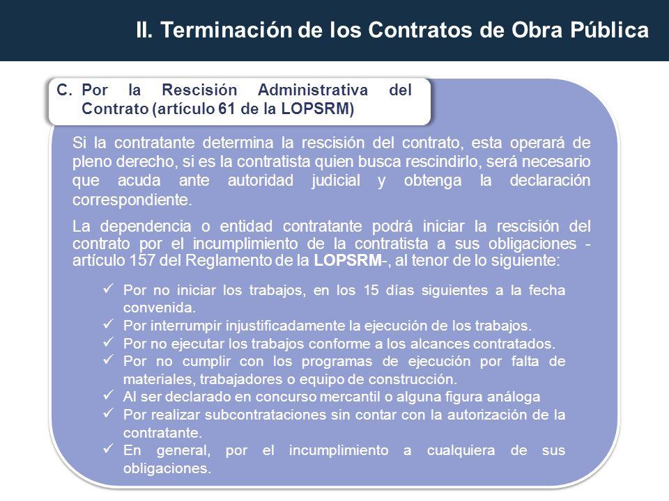 II. Terminación de los Contratos de Obra Pública