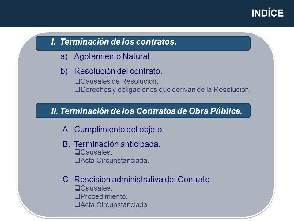 INDÍCE Terminación de los contratos. Agotamiento Natural.
