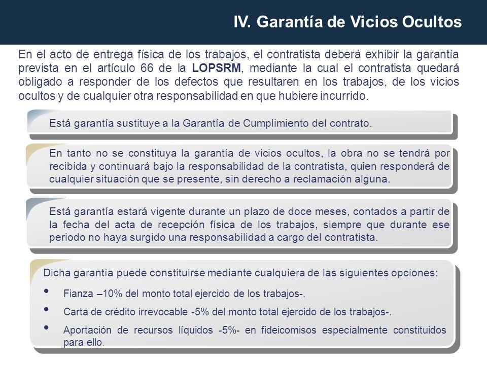 IV. Garantía de Vicios Ocultos