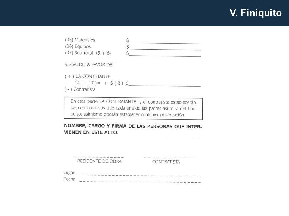 V. Finiquito