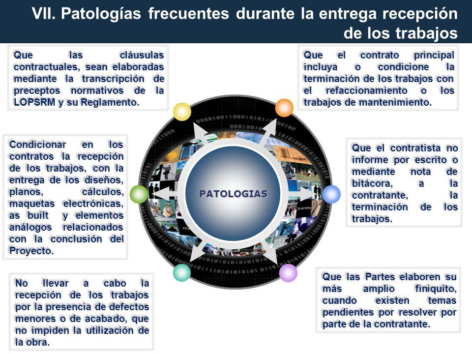 VII. Patologías frecuentes durante la entrega recepción de los trabajos