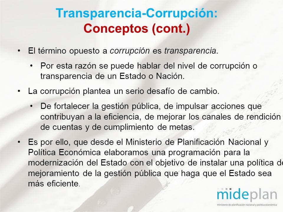 Transparencia-Corrupción: Conceptos (cont.)