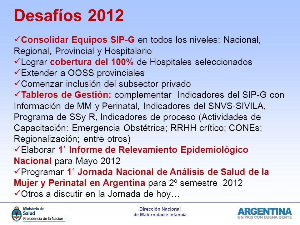 Desafíos 2012 Consolidar Equipos SIP-G en todos los niveles: Nacional, Regional, Provincial y Hospitalario.