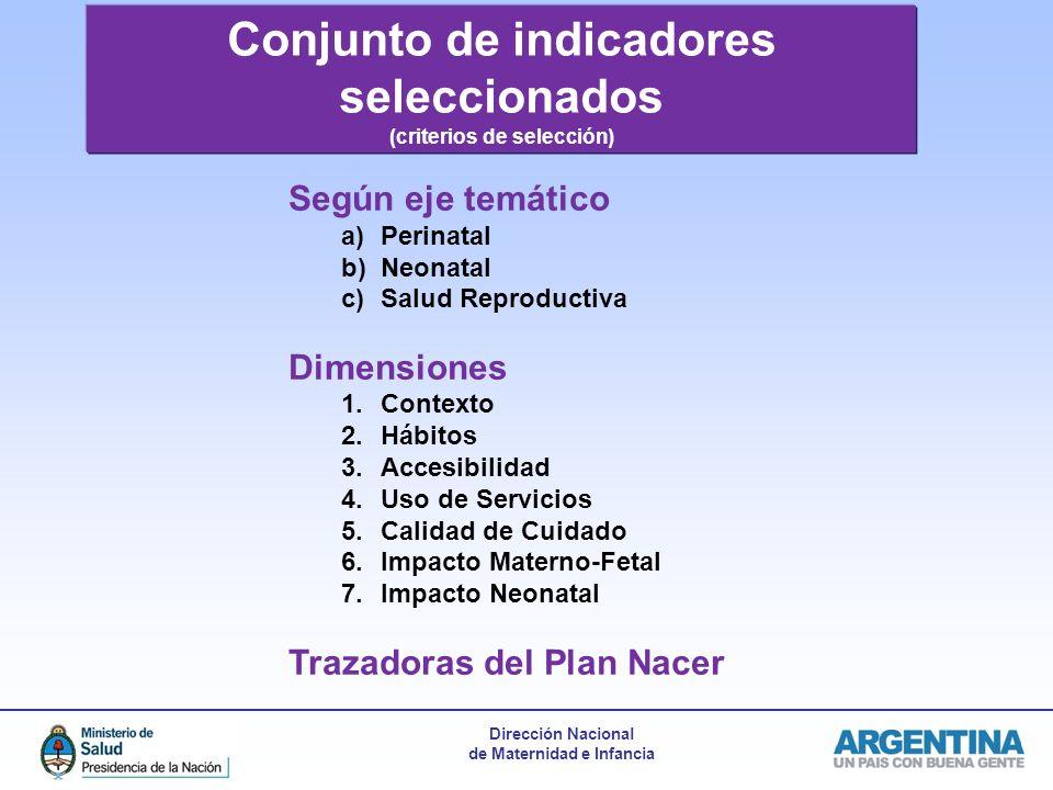 Conjunto de indicadores seleccionados (criterios de selección)