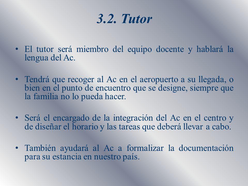 3.2. Tutor El tutor será miembro del equipo docente y hablará la lengua del Ac.