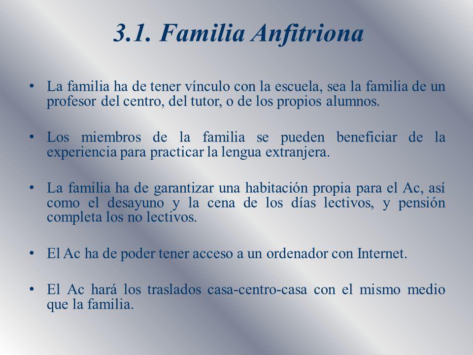 3.1. Familia Anfitriona La familia ha de tener vínculo con la escuela, sea la familia de un profesor del centro, del tutor, o de los propios alumnos.