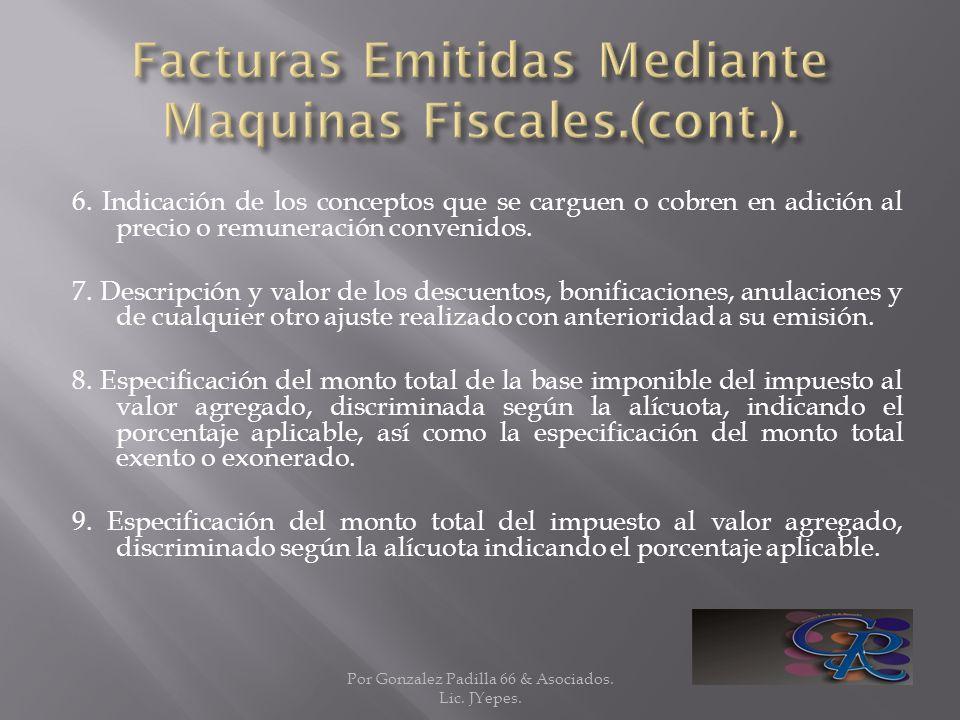 Facturas Emitidas Mediante Maquinas Fiscales.(cont.).
