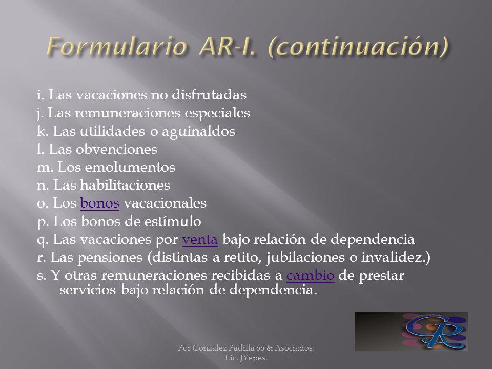Formulario AR-I. (continuación)
