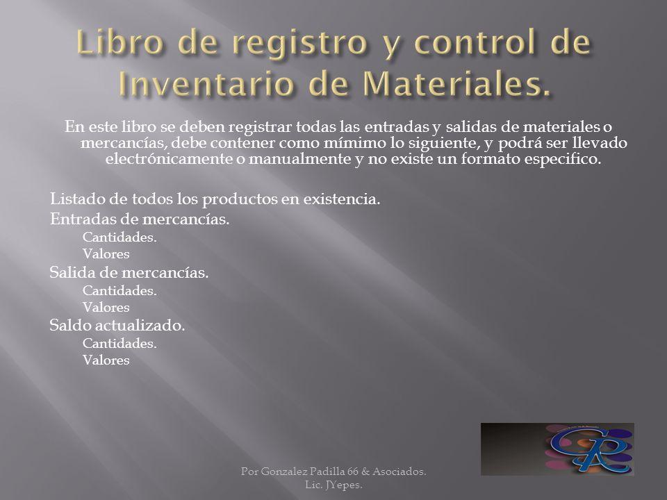 Libro de registro y control de Inventario de Materiales.