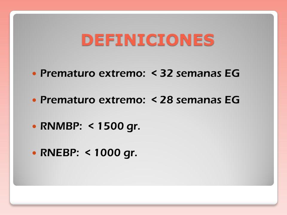 DEFINICIONES Prematuro extremo: < 32 semanas EG