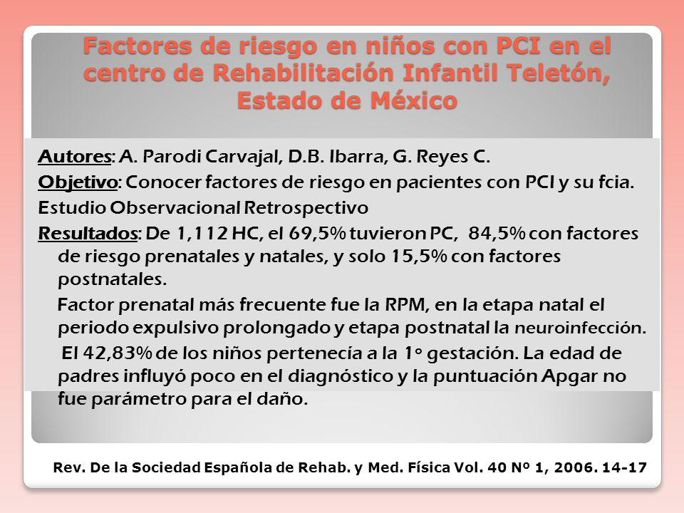 Factores de riesgo en niños con PCI en el centro de Rehabilitación Infantil Teletón, Estado de México