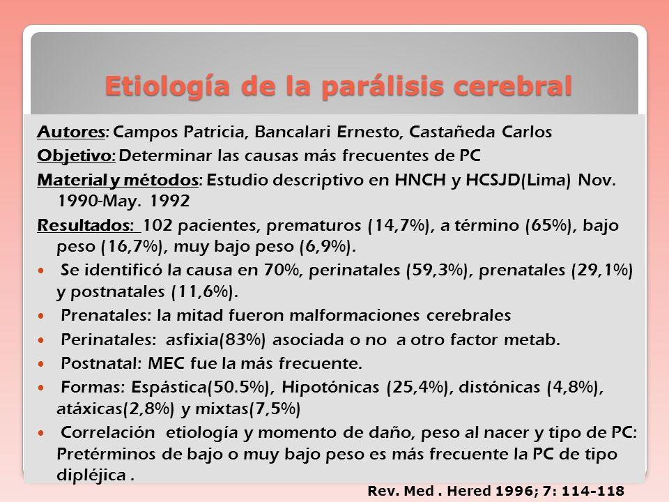 Etiología de la parálisis cerebral