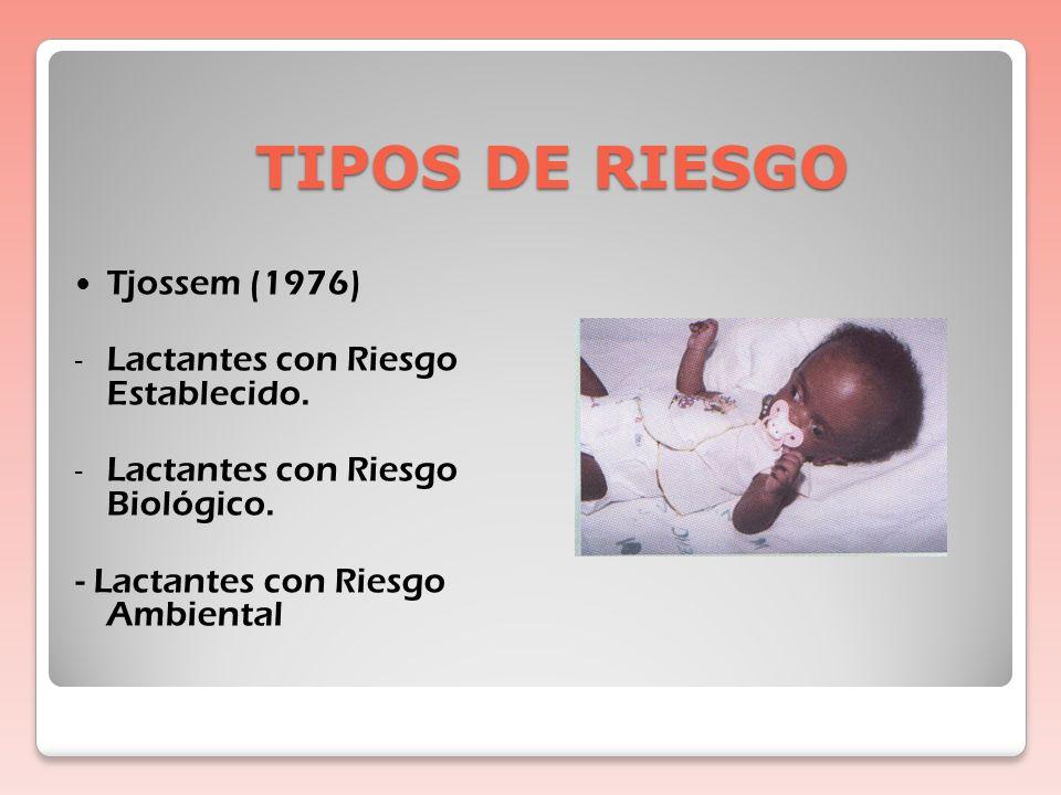 TIPOS DE RIESGO Tjossem (1976) Lactantes con Riesgo Establecido.