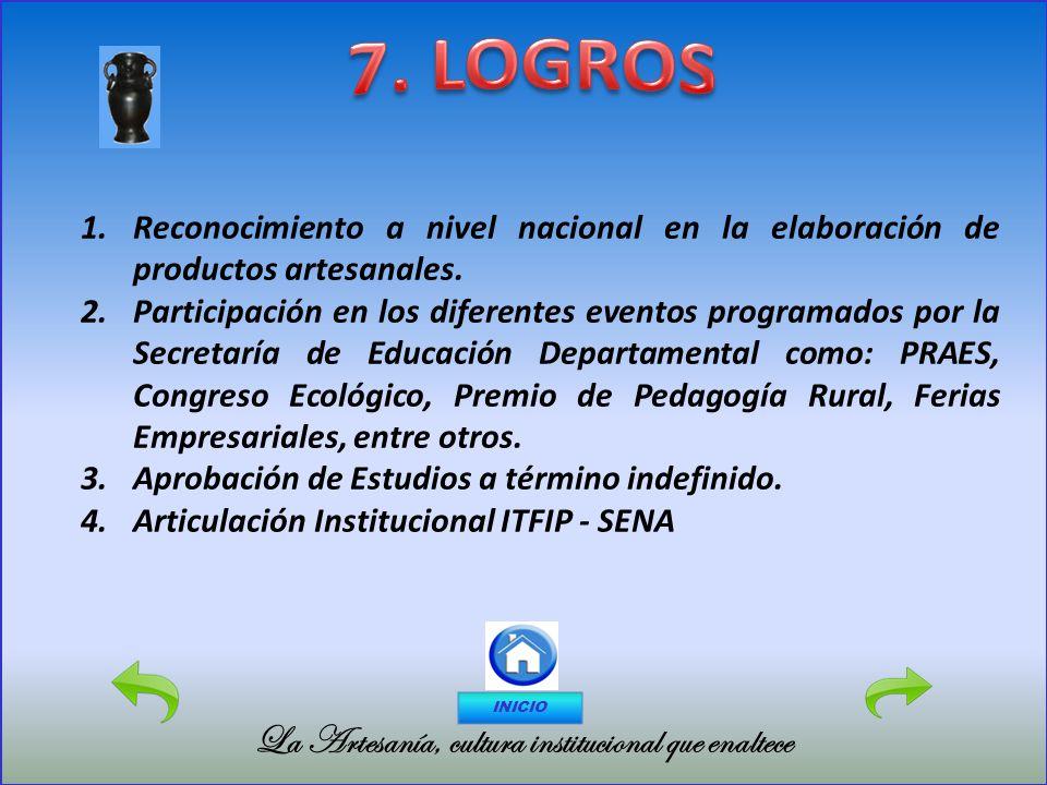 7. LOGROS La Artesanía, cultura institucional que enaltece