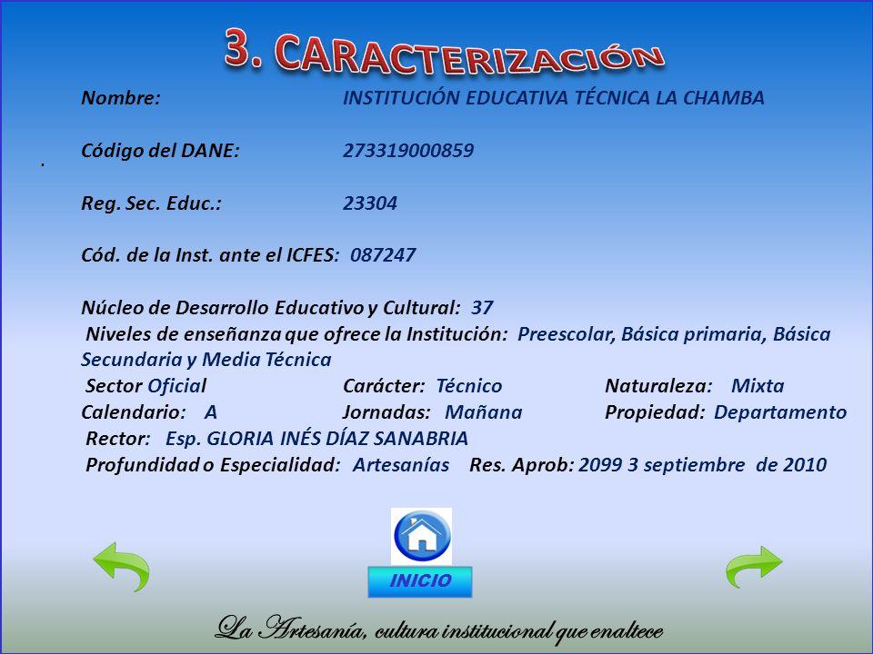 3. CARACTERIZACIÓN La Artesanía, cultura institucional que enaltece