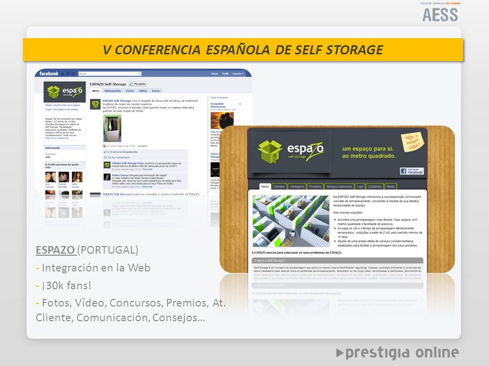 ESPAZO (PORTUGAL) Integración en la Web. ¡30k fans.