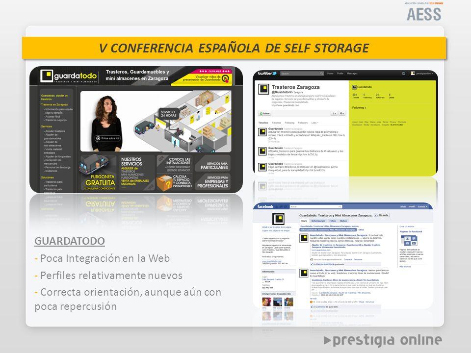 GUARDATODO Poca Integración en la Web. Perfiles relativamente nuevos.
