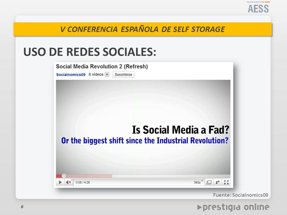USO DE REDES SOCIALES: Fuente: Socialnomics09