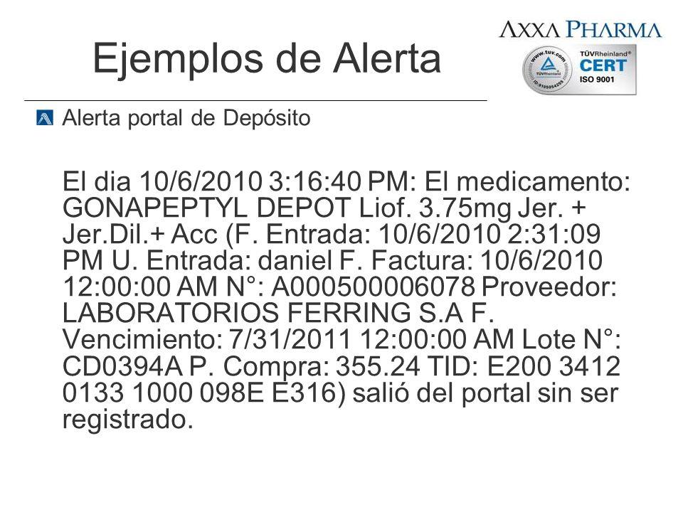 Ejemplos de Alerta Alerta portal de Depósito.