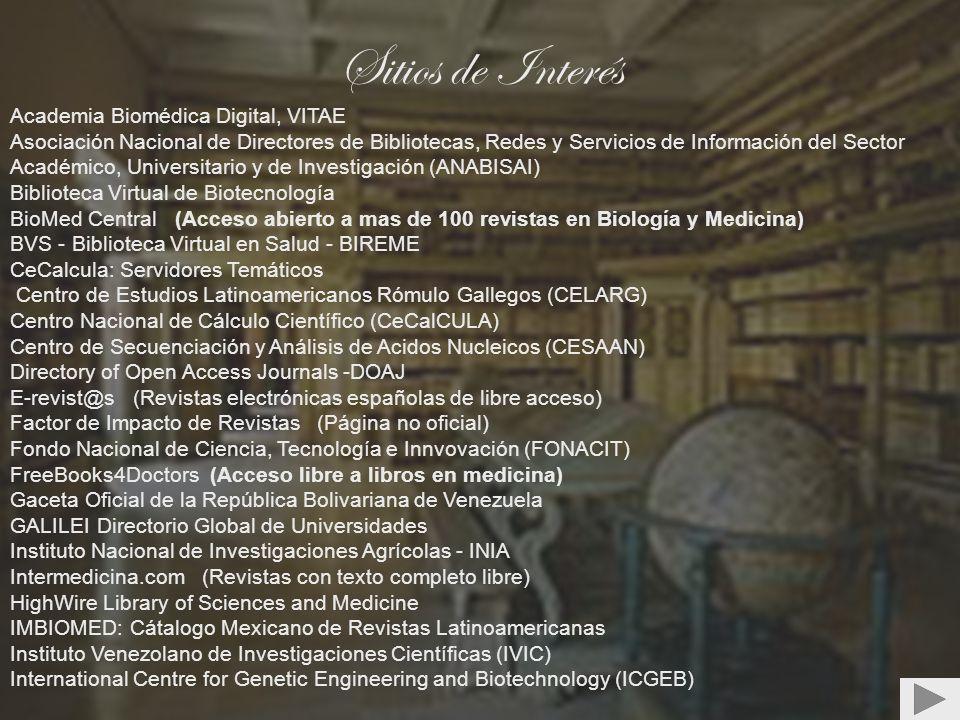 Sitios de Interés Academia Biomédica Digital, VITAE