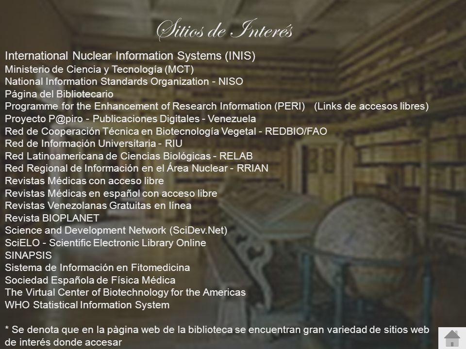 Sitios de Interés International Nuclear Information Systems (INIS)
