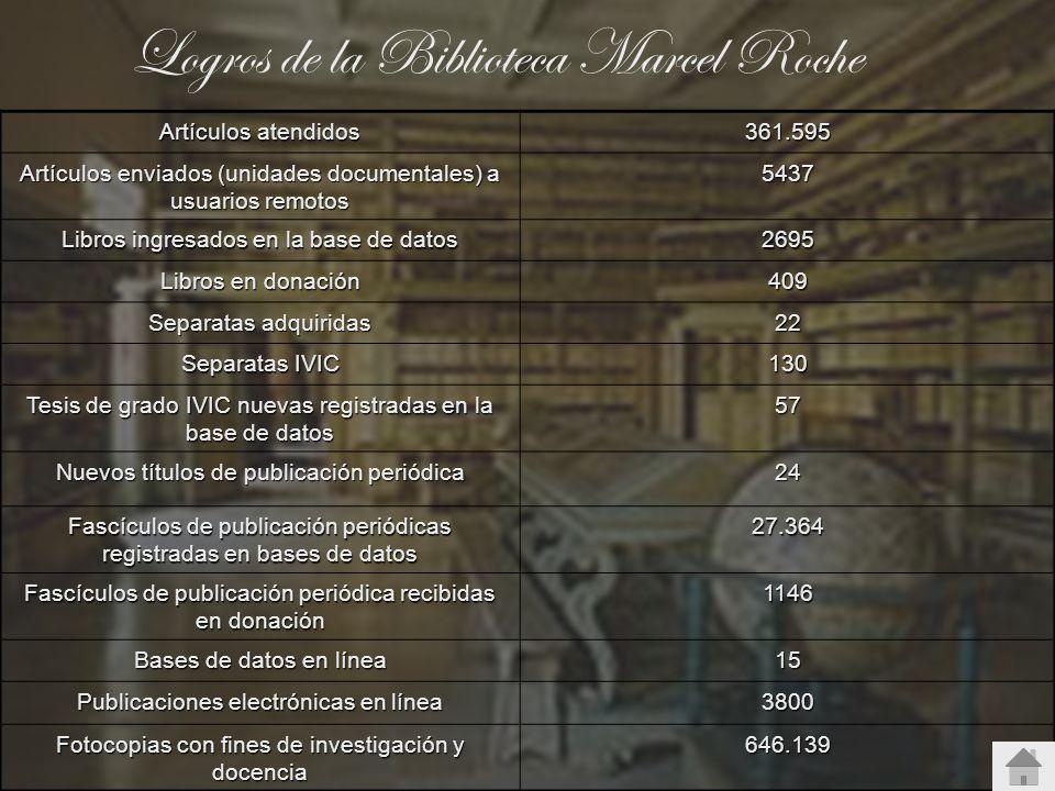 Logros de la Biblioteca Marcel Roche