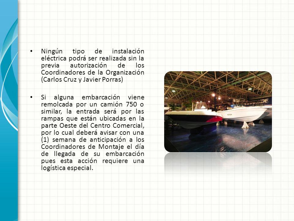 Ningún tipo de instalación eléctrica podrá ser realizada sin la previa autorización de los Coordinadores de la Organización (Carlos Cruz y Javier Porras)