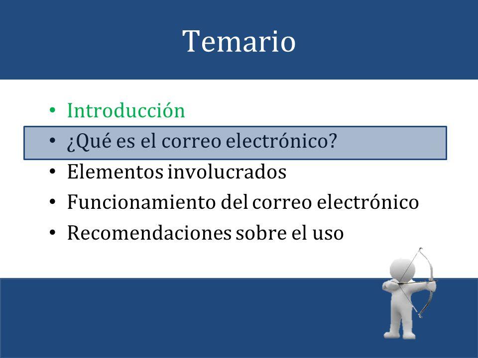 Temario Introducción ¿Qué es el correo electrónico