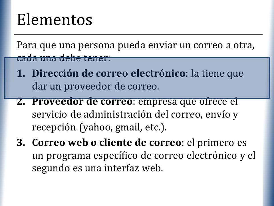 Elementos Para que una persona pueda enviar un correo a otra, cada una debe tener:
