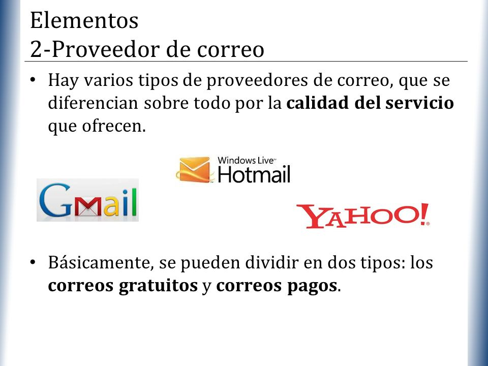 Elementos 2-Proveedor de correo