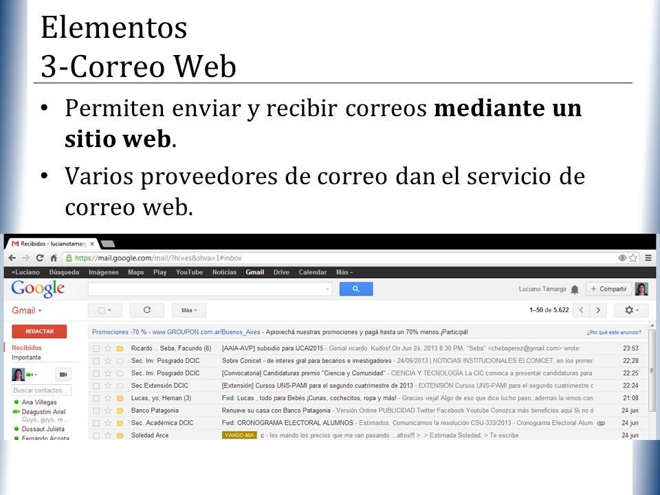 Elementos 3-Correo Web Permiten enviar y recibir correos mediante un sitio web.