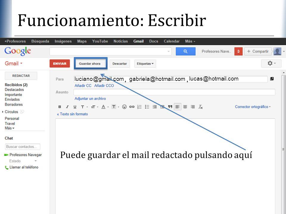 Funcionamiento: Escribir