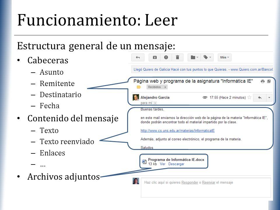 Funcionamiento: Leer Estructura general de un mensaje: Cabeceras